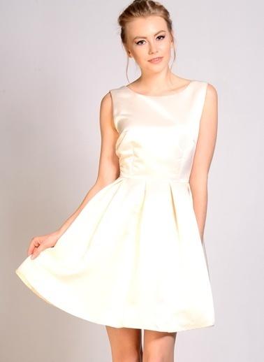 Darling Kolsuz Mini Kloş Elbise Krem